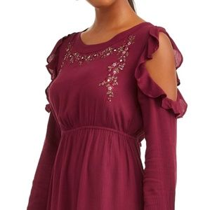 Women's Cold Shoulder  Dress with Embroidery